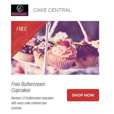 Free Buttercream Cupcakes - Receive 12 buttercream cupcakes with every cake ordered over summer.