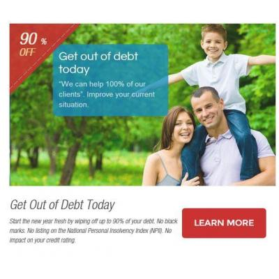 Get Out of Debt Today - Start the new year fresh by wiping off up to 90% of your debt. No black mark
