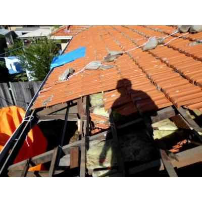 Storm damage - Roof tiles torn off due to mini tornado dianella