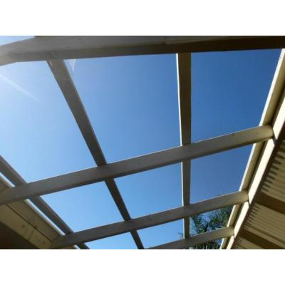 Pergola roof - Hail damaged sheets removed