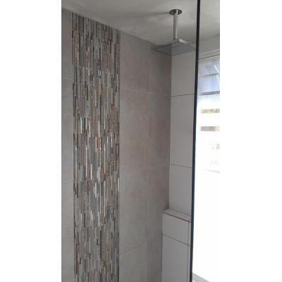 Clontarf bath reno - includes a shower from the ceiling and a hand shower and short wall for a shelf