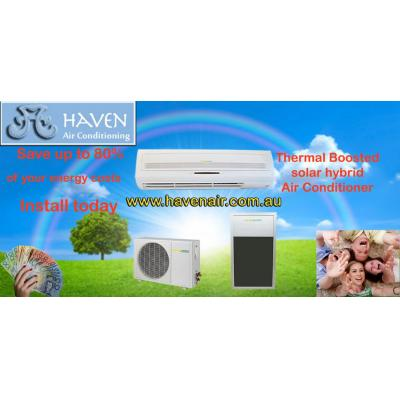 Solar Energy - Thermal Boosted Air Conditioners - Ducted and Wall Split SYstems.