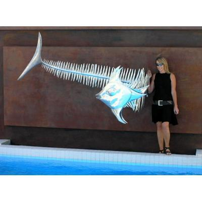 Nautical Wall Sculpture - Sculpture of abstract fish 3 metres long.