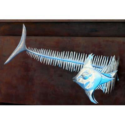 Nautical Abstract Wall Sculpture - Wall sculpture of abstract fish 3 metres from nose to tail.