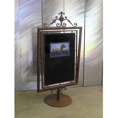 Display Stand - Wrought iron display stand with rusted finish.
