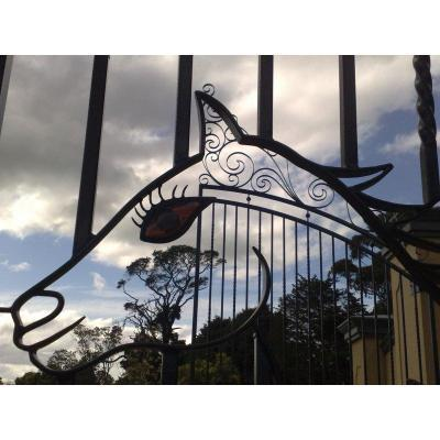 Horse Stud Gates - Horse design gates at Stud Farm, 6 mts wide x 6.4 mts high.