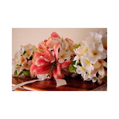 Pink orientla lily, roses Tierdrop - Frangipani, oriental lilies posies and tierdrop set