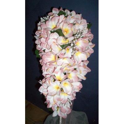 Pink Frangipani Teirdrop - Pink frangipani tier drop with diamenties and ribbon to suit  Kylie desi