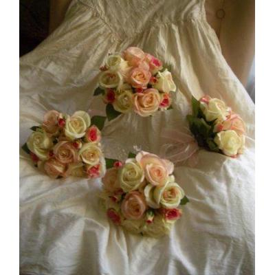 Hot Pink, apricot roses Posies - Apricot,pink and ivory roses posies  Set to match for bridal party