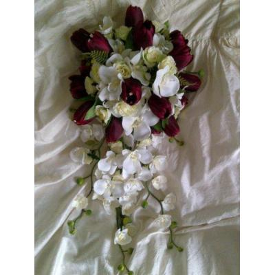 Burgundy Tulips - Burgundy Tulips, lemon roses, white orchids tierdrop with matching bridesmaids pos