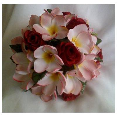 Red roses pInk Frangipani Posy - Isabelle Frangipani and roses posy . matching posies/corsages and b