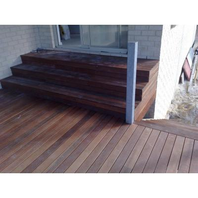 Second story deck - Indonesian merbu decking with stairs