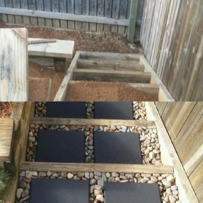 Set new stairs before and after