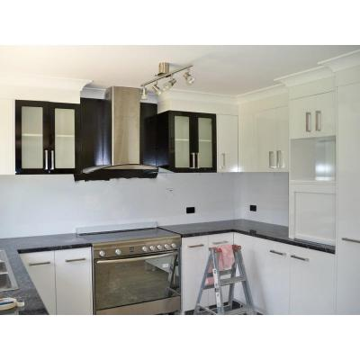 Kitchen - black diamond gloss benches white gloss doors 2 pac black wall cabs