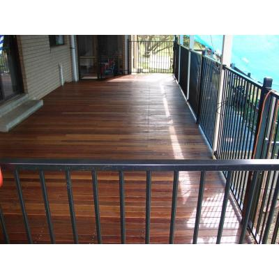 Decking and pool fencing - galvanised steel framed deck framing hard wood or bamboo decking