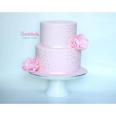 Pink and Gold Cake with Peonies Melbourne - This cake fits in equally at a birthday party, baby show