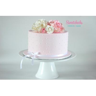 Bridal Shower Cake - Hand Piped cake with beautiful sugar roses on top. For Christening, Baby Shower